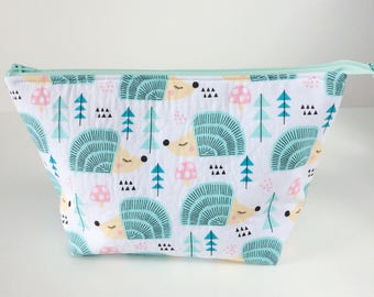 Handmade make up bag, Hedgehog cosmetic bag, large toiletry bag, bridesmaid gift.