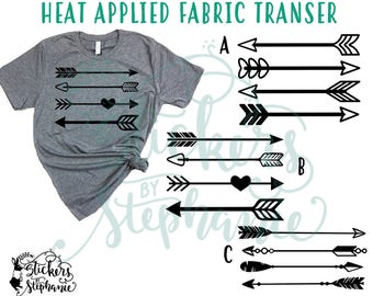 IRON ON v162 Set of 4 Arrows Heat Applied T-Shirt Fabric Transfer Decal *Color Choice in Notes or BLACK Vinyl