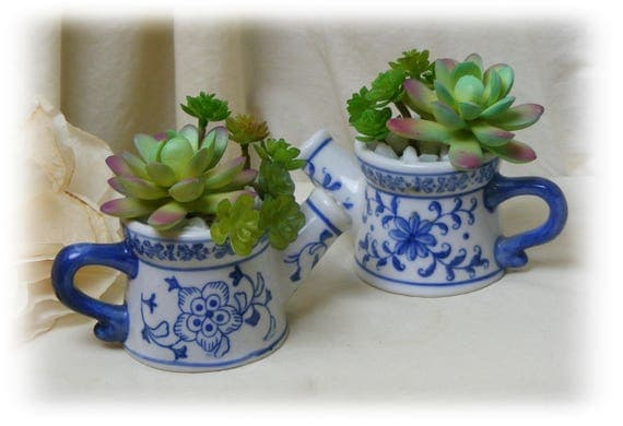 "Adorable ""Tiny Treasures"" Tiny Ceramic Watering Cans"