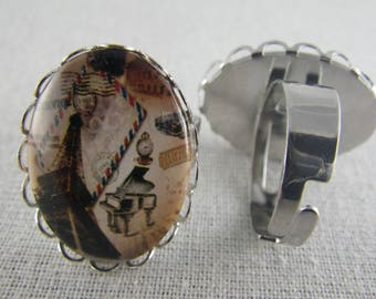 Bague078 - Ring silver, Brown and beige pattern Eiffel Tower