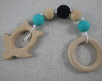 Hochet32 - Montessori-inspired black and turquoise turtle teething rattle