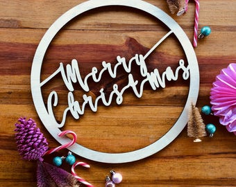 Christmas wreath.  Timber laser cut merry christmas wreath
