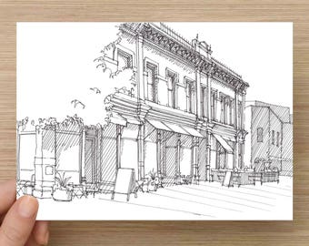 Ink Sketch of Historic Storefront in Fort Collins, Colorado - Drawing, Art, Architecture, Downtown, Square, Pen and Ink, 5x7, 8x10