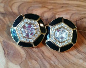 Vintage Trifari Black Enamel and CZ Accent Gold Tone Round Pierced Earrings
