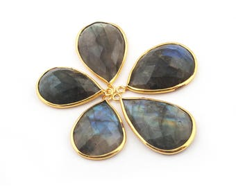 5 Pcs Labradorite Faceted 24k Gold Plated Pear Drop Shape Single Bail Pendant 23mmx15mm-28mmx17mm BC593