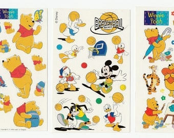 Lot 3 Vintage Disney Winnie Pooh Donald Duck Mickey Mouse Basketball Mini Stickers Sheets