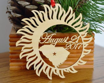 South Carolina Solar Eclipse  ornament wood cut decoration. Laser cut Total Solar Eclipse ornament Path of Totality through South Carolina