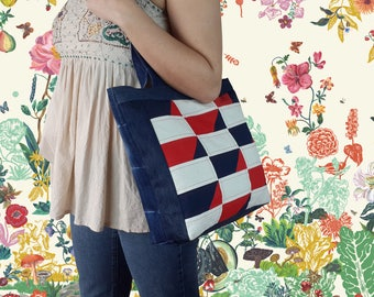 FREE SHIPPING, New Year, Plaid Tote Bag, Red Bag, Patchwork Bag, Denim Bag, Jean Patchwork Bag