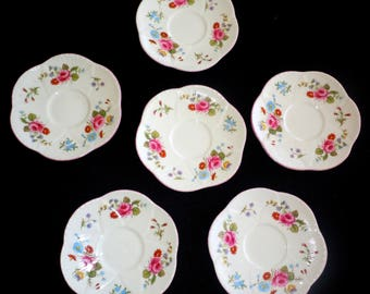 SIX (6) Vintage Shelley Saucers, Wall Display, Dainty, ROSEBUD, Soap, Pin, Sauce, Dishes, Child, Teaparty