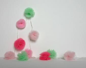 10 Led - Light string with tassels in pink and green tulle