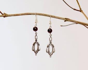 Victorian earrings Garnet bead and prints