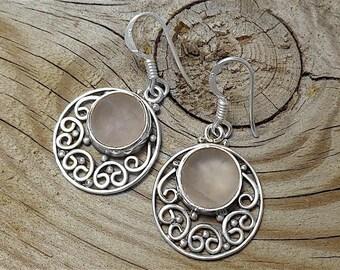 925 Sterling Silver Rose Quartz Gemstone Earrings