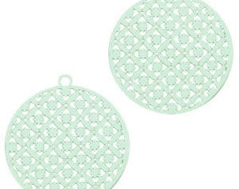 Bohemian pendant with eyelet, round shape-3 pcs.-22 x 20 mm-Color selectable (colour: turquoise-green)