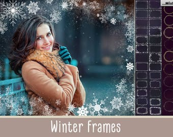 86+ Winter Frames, Snowflake Overlays, Christmas Overlays, , ClipArt, Winter Snow texture, Holiday Photo effect, wonderland, PNG, card