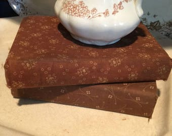 Brown Calico Covered Antique Books SET of 2