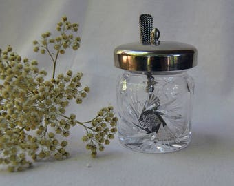 Vintage Crystal, Sugar Bowl, Condiment Jar, Jelly/Jam Server,