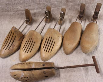Set of vintage French, wooden shoe trees