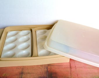 Tupperware Deviled Egg Keeper / Carrier With Lid and Egg Trays - Almond / White Sheer Lid