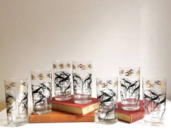 Mid Century Oxen Patterned Glassware, Set of 7