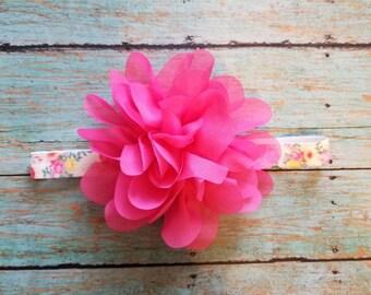 Pink Flower Headband, Baby Girl Headband, Hot Pink Headband, Elastic Headband