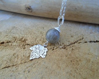 Sterling Silver and Labradorite necklace / spring leaves