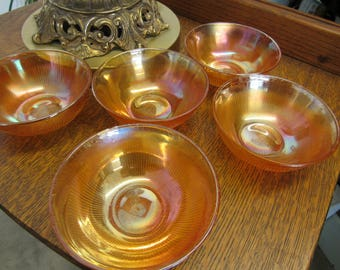 Orange Carnival Glass Bowls Set of 5