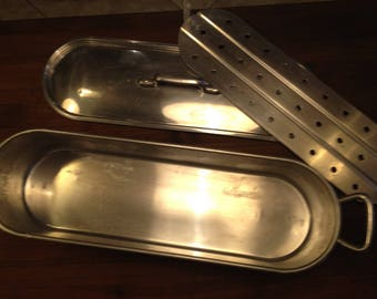"""23"""" XXL French Salmon Poacher, Tournus France Fish Cooker, , Vintage Imported French Gourmet Cookware, Whole Fish or Vegetable Steamer"""