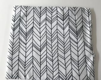 Black and White Feather Super Soft Stretch Jersey Swaddle Receiving Infant Blanket