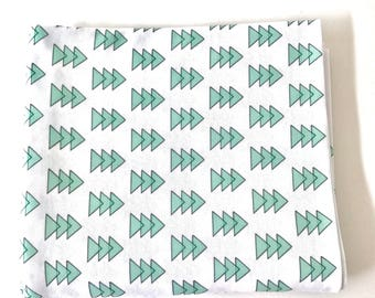 Mint Green Triangle Arrows Super Soft Stretch Jersey Swaddle Receiving Infant Blanket