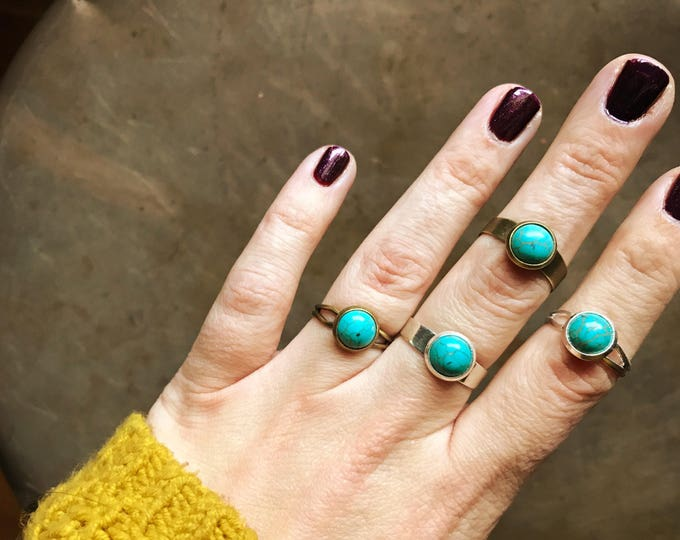 Ready to Ship // Adjustable Turquoise Ring // Silver Turquoise Ring // Bronze Turquoise Ring // Boho Turquoise Ring // Geo Supply Co.