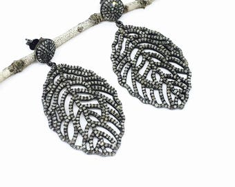 Pave Diamond earring. Length-2inch long. Carat -3.15. Genuine authentic diamonds.