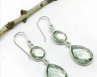 10% Green amethyst earrings set in sterling silver 92.5. Natural authentic green amethyst stones. Perfectly matched.