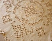 Tablecloth embroidered by hand in Hardanger technique, embroidery, piece of furniture, handicraft, gift, cover