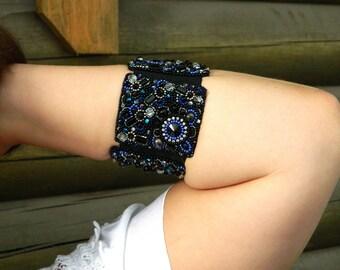 Black wide elastic cuff bracelet for women Bead embroidery ultramarine blue jewelry Pearl crystal rhinestone designer cuff Mothers day gift