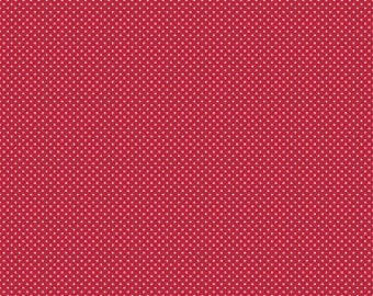 Riley Blake red swiss dot fabric by the yard, pin dot red quilting cotton, Anne Swiss Dot Red by Penny Rose, Anne of Green Gables Christimas
