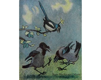 Dancing Crows - Illustrator V. Litvinenko - Vintage Soviet Postcard, 1957. Bird Humor Satire Card Drawing Animals Art Print