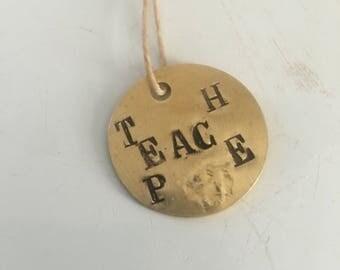 Teach peace dogtag in vintage brass