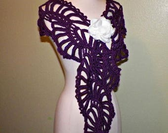 On Sale- Purple Shawl Scarf Sashay Freeform Lace Crochet Wide Lariat Neckwarmer With White  Flower Brooch