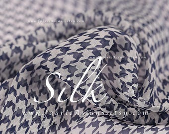 Blue white houndstooth silk chiffon by the yard