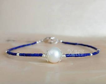 Handmade Natural Lapis Lazli Seed Beads with Freshwater Pearl Bracelet Handmade Cute Bracelet Very thin Seed Beads