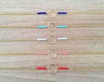 Minimalist geometric Hexagon bracelet gold plated