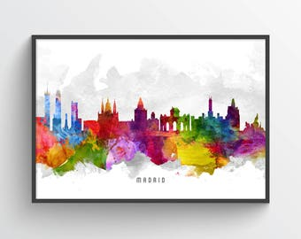 Madrid Poster, Madrid Skyline, Madrid Cityscape, Madrid Print, Madrid Art, Madrid Decor, Home Decor, Gift Idea, ESMD13P