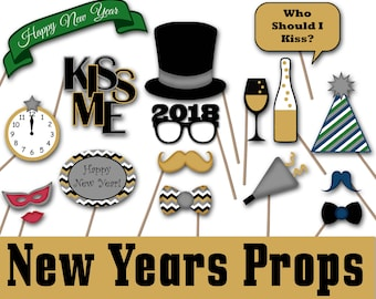 New Years Photo Booth Props 2018 - Printable New Years Decorations and Banner - Over 35 Images - New Years Eve Party-INSTaNT DOWNLoAd - SALE