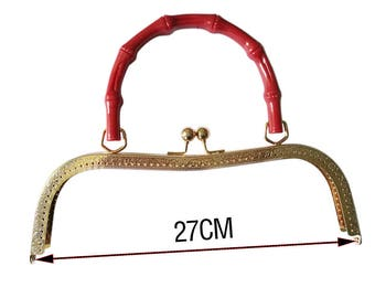 27 CM gold kiss lock handbag frame with red bamboo handle  * 1 piece