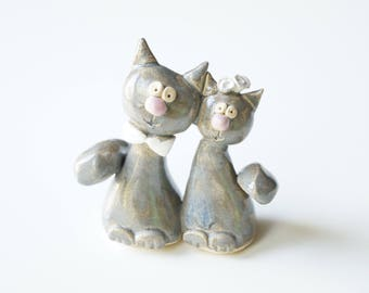 Wedding Cake Topper, Cat Cake Topper, Gray Cat Cake Topper, Wedding Cake Decor, Ceramic Cake Topper by Her Moments