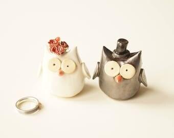 Owl Wedding Cake Topper, Wedding Cake Topper, Ceramic Owl, Ceramic Cake Topper by Her Moments