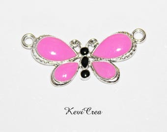 enameled silver Butterfly Connector 1 x pink