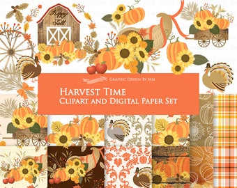 20% off Harvest Time / Autumn / Fall Clip Art + Digital Paper Set - Instant Download