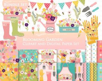 Blooming Garden, Flower, Blooming Flower, Flower Garden Clip Art + Digital Paper Set - Instant Download