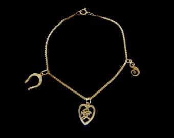 Women's Vintage Estate 14K Gold Charm Bracelet W/ Heart & Horseshoe 2.5g E3395